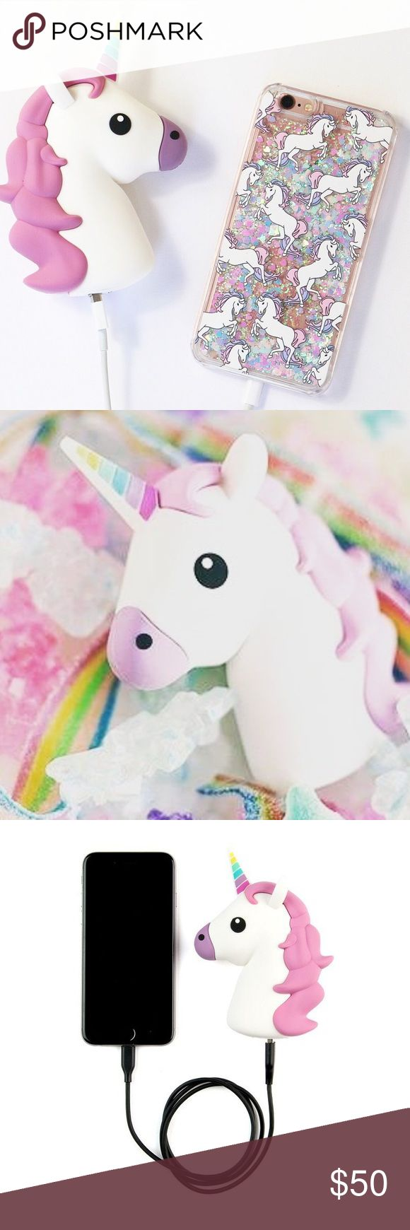 UNICORN PORTABLE CHARGER WITH GLITTER CASE ✨ The most magnificent charger ever! Perfect for charging your phone on the go!  Up to 2 Full Charges! 2700 MAH Capacity  Includes Micro Charging USB Cable (to recharge the emoji battery) Available in other great styles Supports iOS and Android devices only.               Price is firm! No trades! Last one!! Accessories Phone Cases