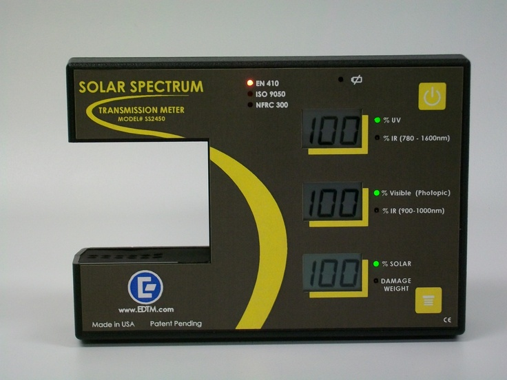 """The Solar Spectrum Meter $899.00 is great for window tinting, window sales, glass professionals. Show your customers the REAL story by challenging competitor's claims of Infrared performance. Determine visible light transmission, UV transmission, Total Solar Transmission in the push of a button. Also compare sun damage reduction by using the new """"Damage Weight"""" feature. This instrument is the ultimate energy measurement device available!"""