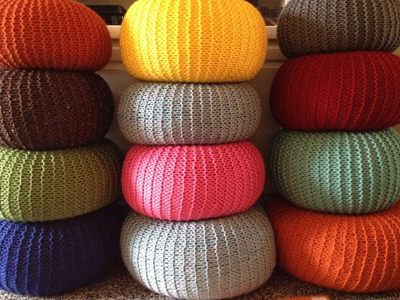 My hand knit pouf makes a comfy ottoman. Pouf Ottomans feature a unique  texture and - Best 25+ Knitted Pouf Ideas On Pinterest Knitted Pouffe, Large