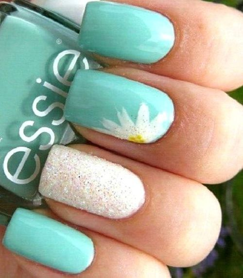 14 spring nails in teal color that you can copy