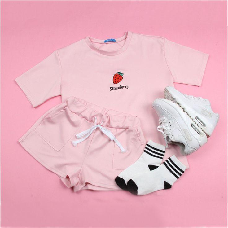 2017 Summer New Harajuku wind fruit suit T-shirt + trousers large size leisureTwo-piece Women Suit S-XXL