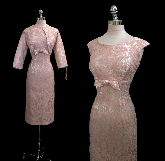 Vintage 1950s Peach Lace and Ivory Satin Hourglass Wiggle Fishtail Dress and Jacket Deadstock L