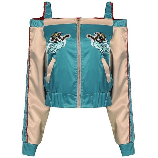 Embroidered Pattern Off-shoulder Women Bomber Jacket ($33) ❤ liked on Polyvore featuring outerwear, jackets, embroidered bomber jacket, bomber style jacket, patterned bomber jacket, pattern jacket and flight jacket
