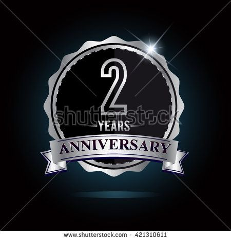 2nd anniversary logo with ribbon. 2 years anniversary signs illustration. Silver anniversary logo with ribbon. - stock vector