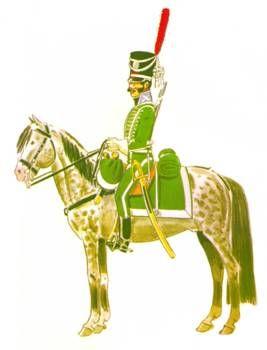 Caballería. Regimiento de cazadores Voluntarios del Estado :  Este dibujo muestra las líneas básicas de su uniformidad: calzón y casaca corta (sin faldones) de color verde, chacó con viseras y cordones de plata. Al cuello la divisa de la espada y la pluma y al costado el sable curvo de la caballería ligera.