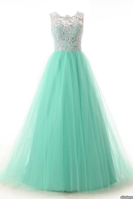 Hot Sale Long Cap Sleeves Lace Prom Dresses,Simple Prom Dresses,Cheap Prom Dress,Mint Prom Gowns