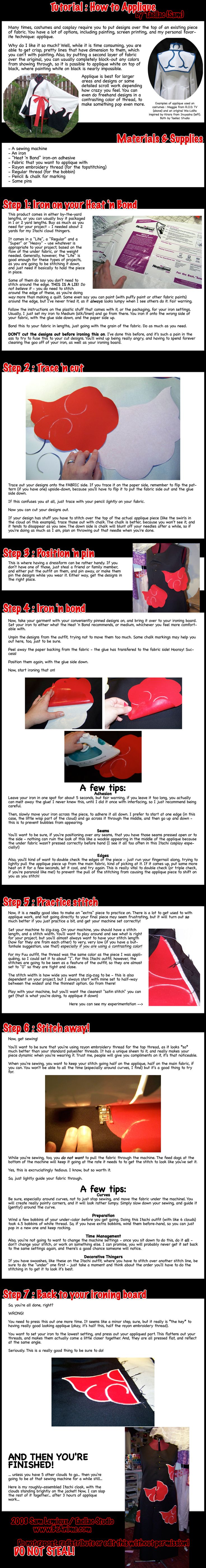 Tutorial: How to Applique by `taeliac on deviantART #cosplay #sewing