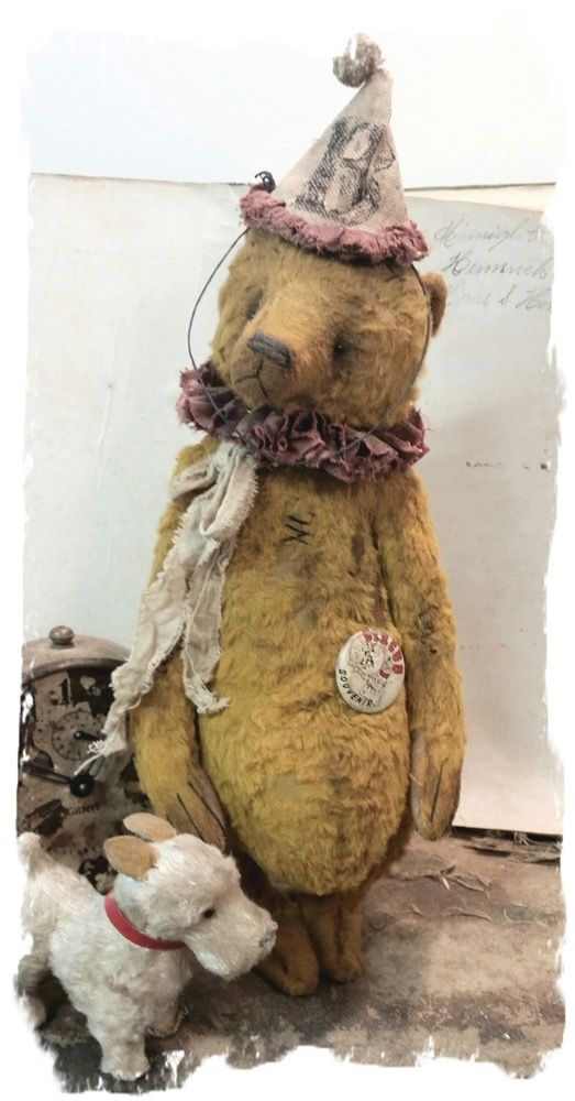 "Image of NEW DESIGN * Antique Style 11"" Old Clown Teddy Bear * By Whendi's Bears"
