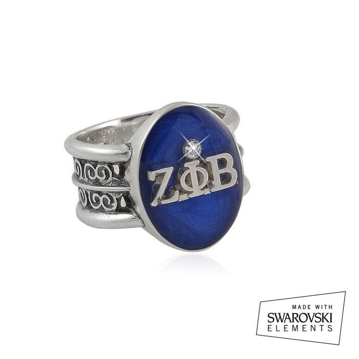 """Zeta Phi beta Swarovski® """"Rio"""" Collection Silver Ring"""