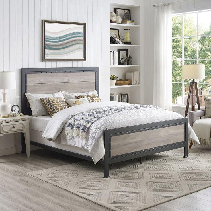 Best Gray Industrial Wood Metal Queen Bed Grey Bedding 400 x 300