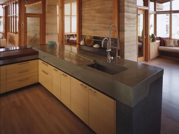Concrete Kitchen Countertops Kitchen Remodeling Hgtv Remodels Thick Concrete Countertop With