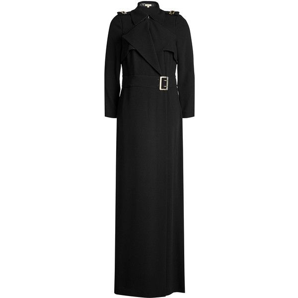 Burberry Long Crepe Trench ($715) ❤ liked on Polyvore featuring outerwear, coats, black, belted trench coat, long coat, belted coat, long length coats and lightweight coat