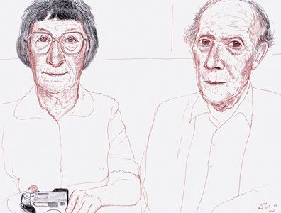 David Hockney Margaret and Ken. Bridlington 2002 ink on paper, 12 1/4x16 1/4 in.