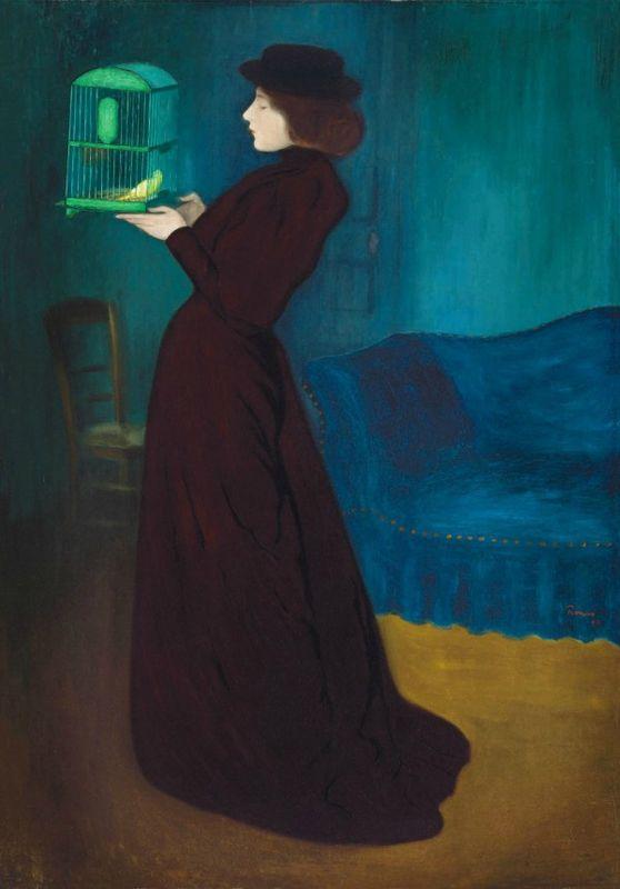 József Rippl-Rónai (1861 – 1927), Femme à la cage, 1892, Huile sur toile, 185,5 x 130 cm. Budapest, musée des Beaux-Arts © Musée des Beaux-Arts, Budapest 2016