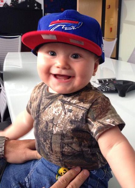 Dan Carpenter's son Colby is excited after his dad re-signed with the Bills! #babyBill!