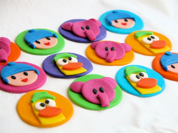 Pocoyo Inspired Fondant Cupcake Toppers- make our own cupcakes and buy these?