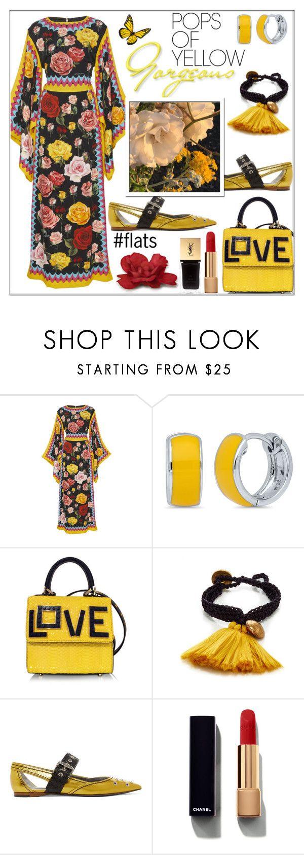 """Get Happy: Pops of Yellow"" by pat912 ❤ liked on Polyvore featuring Dolce&Gabbana, BERRICLE, Les Petits Joueurs, Daniela Bustos Maya, Bottega Veneta, Chanel, Yves Saint Laurent, polyvoreeditorial and PopsOfYellow"