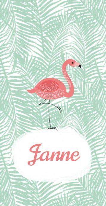 Stoer modern meisjes geboortekaartje Janne met een flamingo op een botanisch achtergrond in pastel mintgroen.