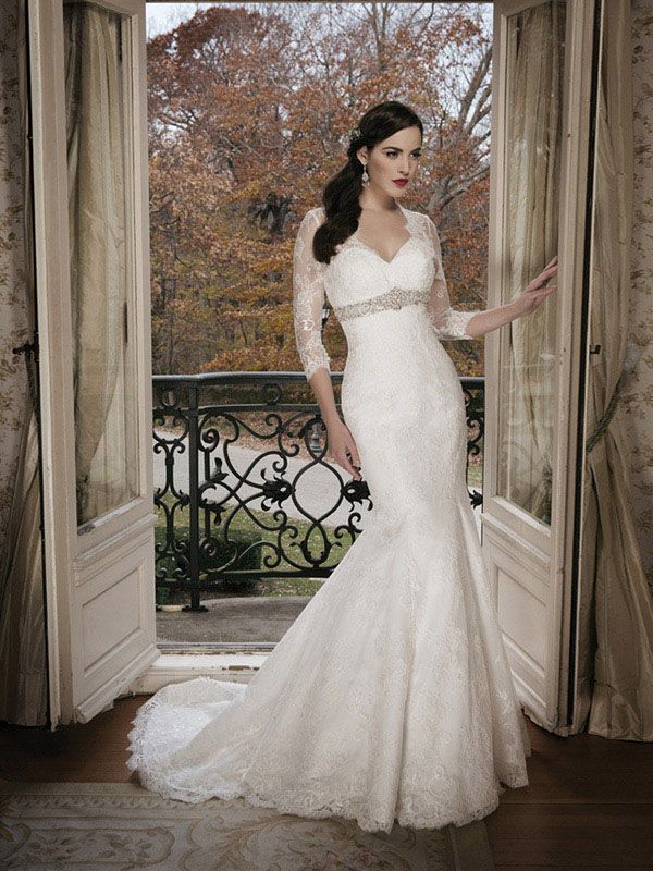 Trumpet/Mermaid Sweetheart 3/4-Length Sweep/Brush Train Tulle Wedding Dress #WX547