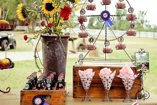 Real Party: A Country Fair Carnival Party at a Ranch. Another view of the cupcake stand