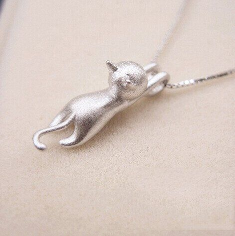 Genuine 925 Sterling Silver Necklaces Cats Pendant &Necklace