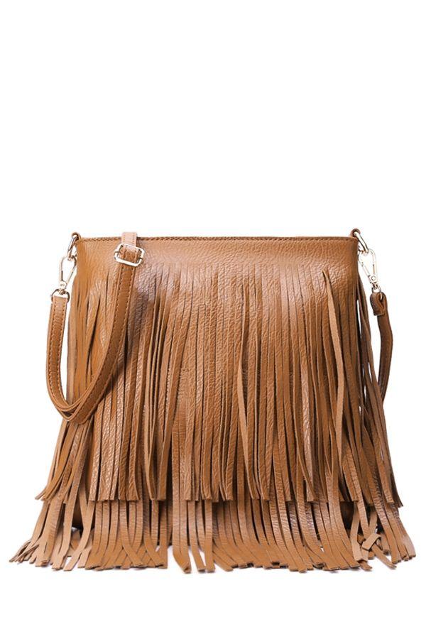 Fringe PU Leather Pure Color Crossbody Bag