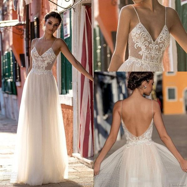 Discount 2018 New Sexy Gali Karten Garden Beach Wedding Dresses Sleeveless Spaghetti Straps Robe De Soiree Backless Long Boho Brdial Gowns Champagne Wedding Dresses Cheap Plus Size Wedding Dresses From Whiteone, $160.97| DHgate.Com