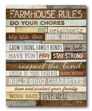 Look what I found on #zulily! 'Farmhouse Rules' Gallery-Wrapped Canvas #zulilyfinds
