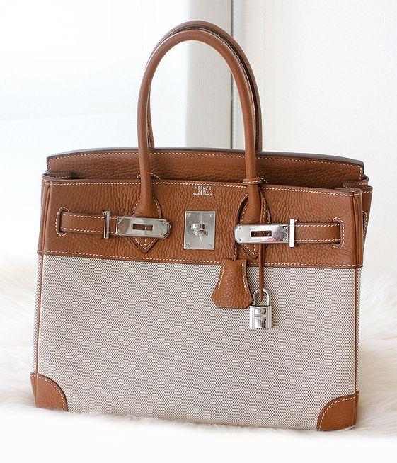 Hermes gold leather \u0026amp; toile canvas Birkin bag. | Designer Handbags ...