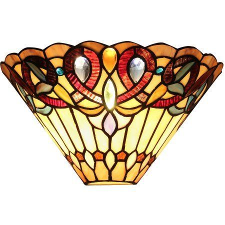 Chloe Lighting Ambrose Tiffany-Style 1-Light Victorian Wall Sconce, 12 inch Wide, Multicolor
