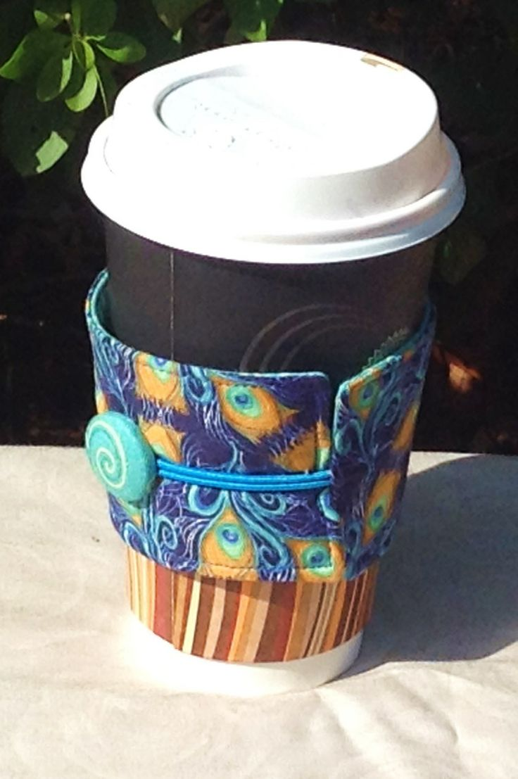Insulated Takeaway Coffee Cup Wrap in pretty peacock print