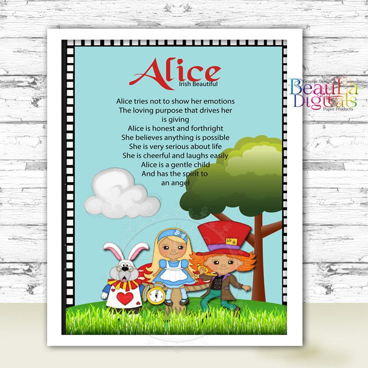 ALICE WONDERLAND Personalized NAME MEANING - WALL PRINT POSTER GLOSSY A4