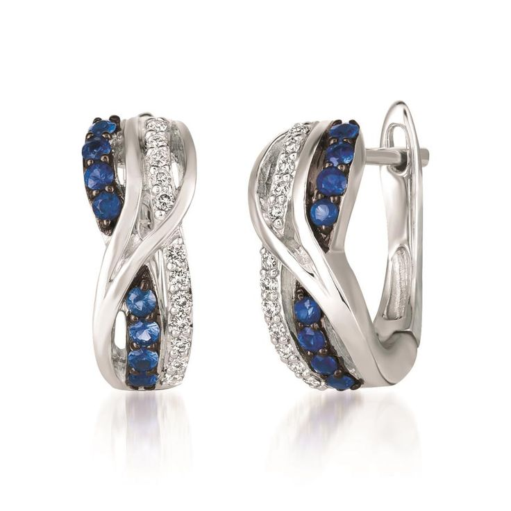 Sweet hoops!  Blueberry Sapphire™ sweetly paired with Vanilla Diamonds® in Vanilla Gold®.  At Koser Jewelers, Mount Joy, PA