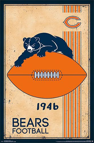 NFL Heritage Series CHICAGO BEARS 1940s Style Official Football Team Retro Logo Poster - Costacos Sports