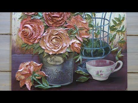 Рельефная (скульптурная) живопись декоративной штукатуркой. Окрашивание штукатурки. Работа в цвете. - YouTube
