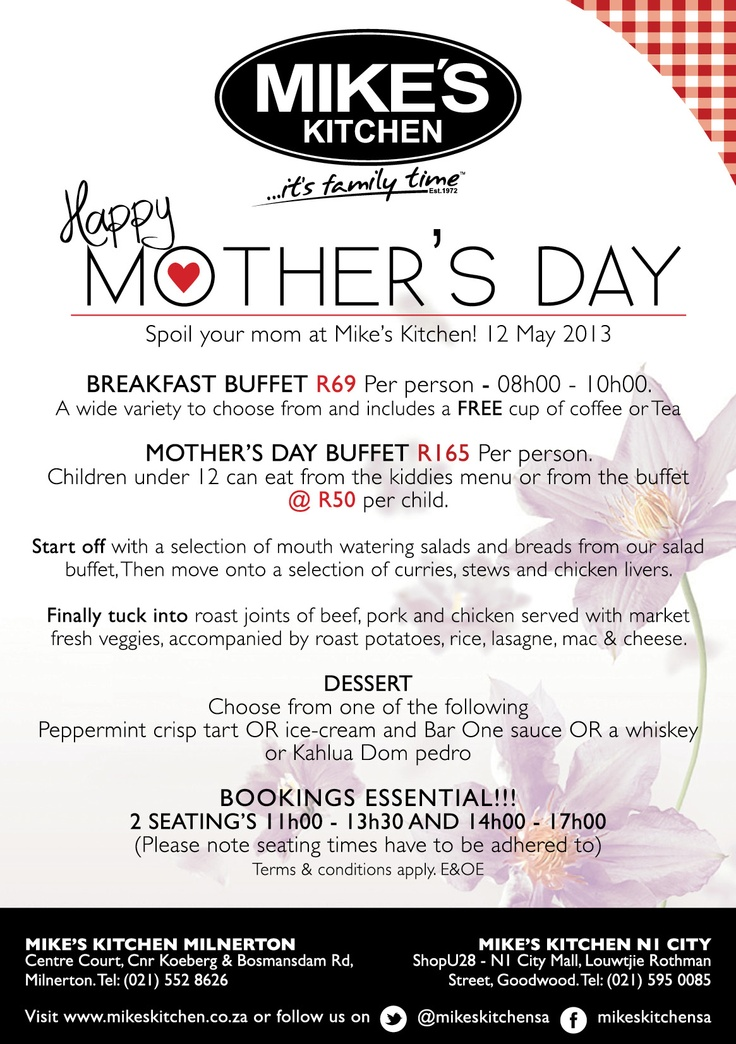 Mikes Kitchen Milnerton & N1 City Mothers Day
