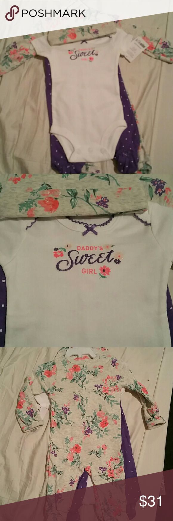 4 pc outfit daddys little girl comes with fetty pjs, a hat, a onsie and purple feetie pants Carter's Matching Sets