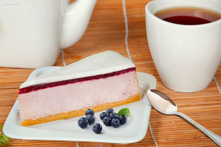 Bilberry Cheesecake  Traditional American cheesecake with cream cheese Cheeseberry, complemented by a layer of fresh juicy bilberries under  the snow-white topping of sugary cream.