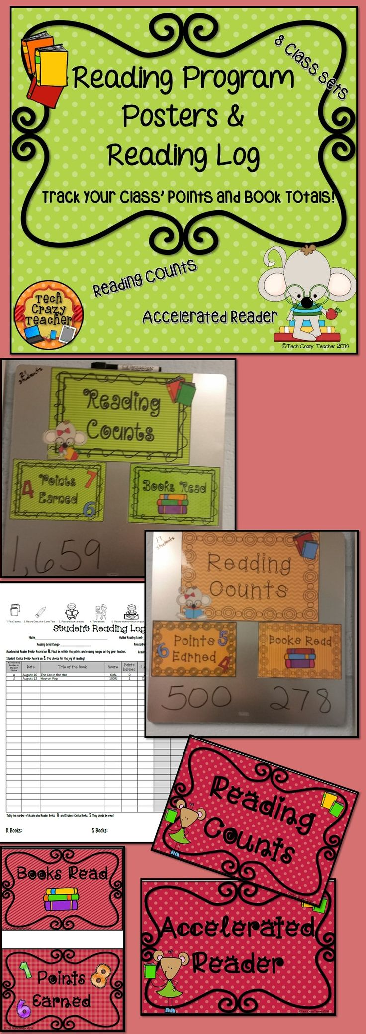 Reading Counts or Accelerated Reader Bulletin Board Posters. Keep track of classroom points and books read! Reading Log included! $