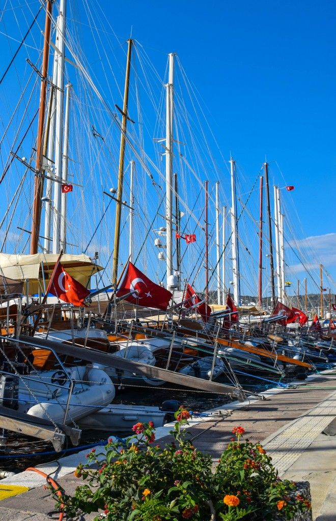 Yachts in the harbor - Bodrum, Turkey