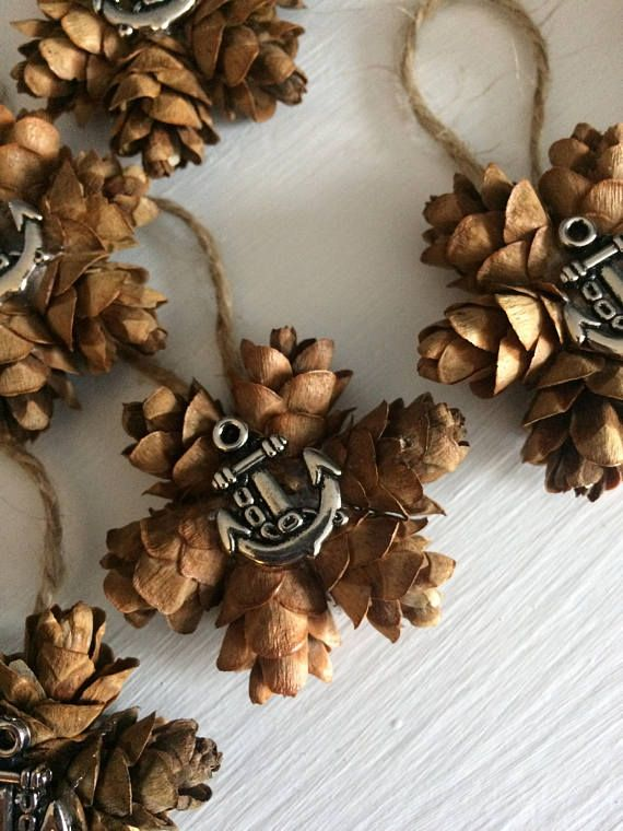 When You Re Looking For Nautical Decor Or Wedding Favors Try These Anchor Mini Pine Cone Wreath Ornaments Mini Pine Cones Pinecone Ornaments Pine Cones