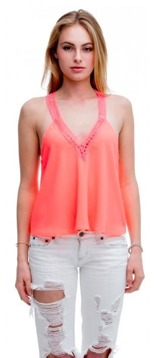 Neon coral lace trim tank top