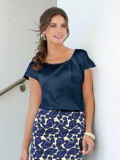 Blusa mujer manga corta de satén con pliegue