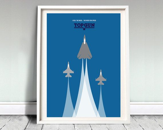 "TOP GUN - movie poster: 12x16"" art, print, film, top gun print, iceman, goose, minimal print, tom cruise, airplane print, illustration,"