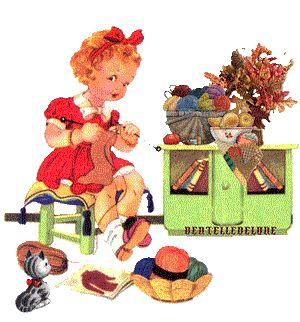fillette qui tricote