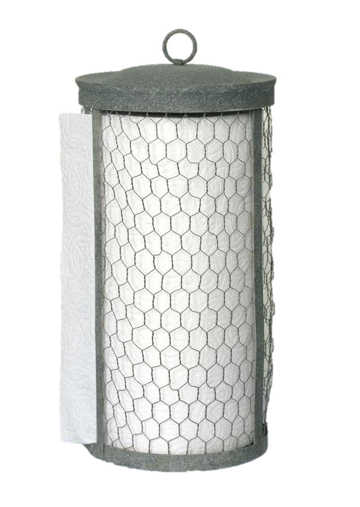 This Farmhouse style paper towel holder is a great accent for any kitchen! A pole in the center holds your paper towels while the towels feed through a slit in the side. To replace your paper towels,