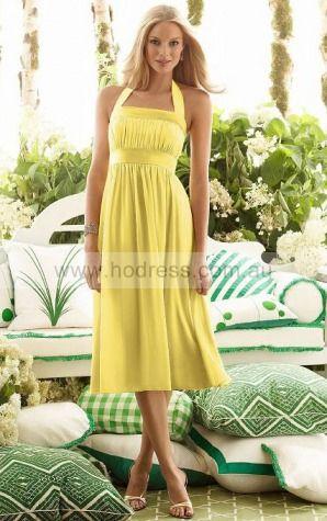 Chiffon Halter Empire A-line Tea-length Bridesmaid Dresses 0740532--Hodress