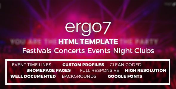 Ergo7 - An HTML Template for Events, Parties, Festivals & others that would be included in the Events & Entertainment category :)