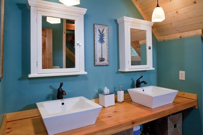 Blue bathroom with wood accents.