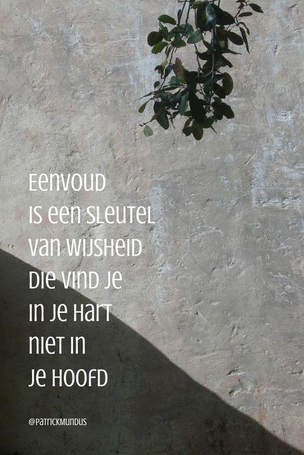 Eenvoud is een sleutel van wijsheid. Die vind je in je hart, niet in je hoofd...